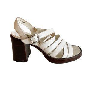 Vtg White Striped Sandals Block Heels 7.5 Brazil